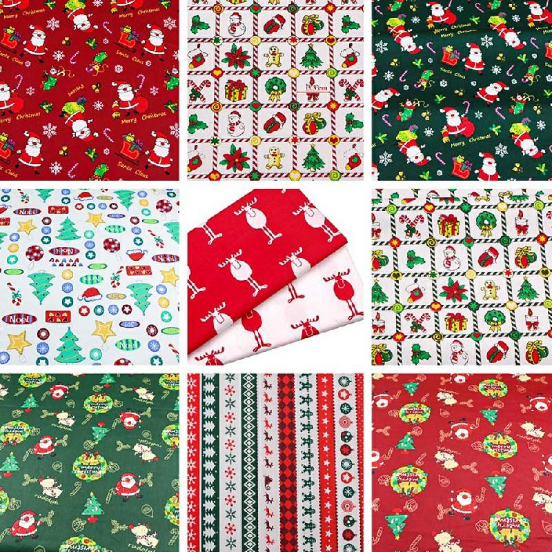 10 pcs Christmas Polycotton Fabric Bundles Fat Quarters 25CM Squares
