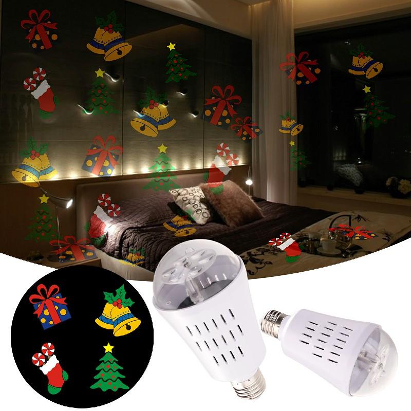 E27 LED Moving Snowflake Xmas Landscape Laser Projector Light - Colourful Pattern