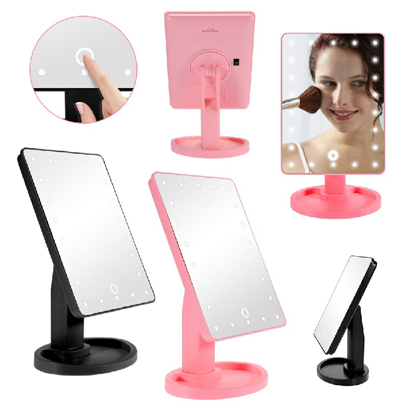22 LED Touch Screen Makeup Light Up Mirror - Pink