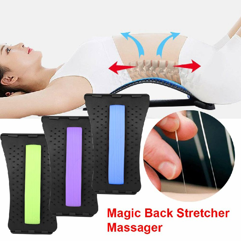Magic Back Support Stretcher Lower Relief Lumbar Corrector - Black + Blue