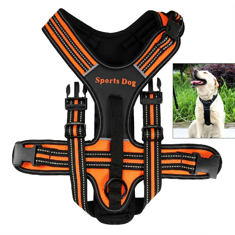 Pet Control Harness Soft Walking Collar Vest Size M - Orange