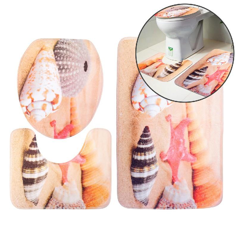 3Pcs Bathroom Non-Slip Pedestal Rug + Lid Toilet Cover + Bath Mat - Beach