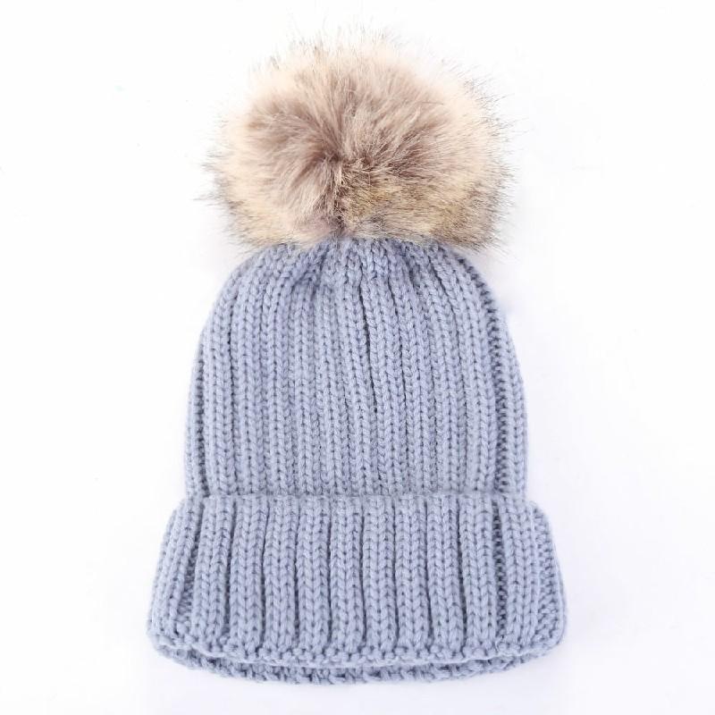 Kids Warm Winter Wool Knit Beanie Pom Bobble Hat - Gray