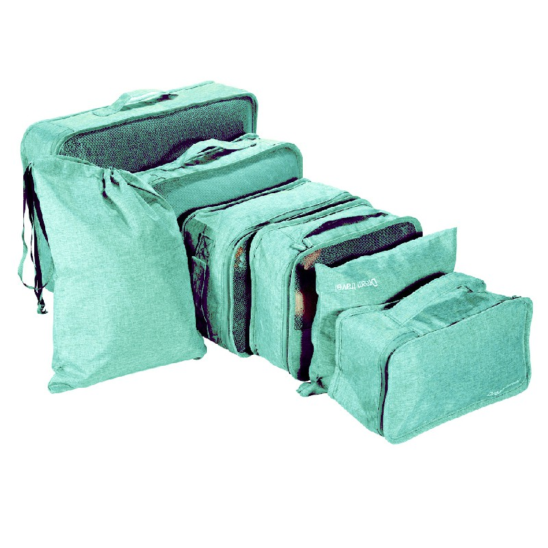 7pcs/Set Luggage Organiser Travel Compression Suitcase Bags - Lake Blue