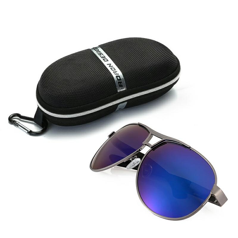 Polarized Retro Driving Aviator Sunglasses + Box - Blue