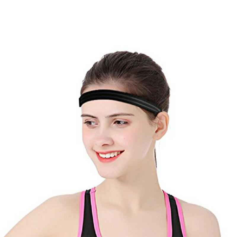 Silicone Non-slip Sports Stop Sweat Wicking Headband - Black