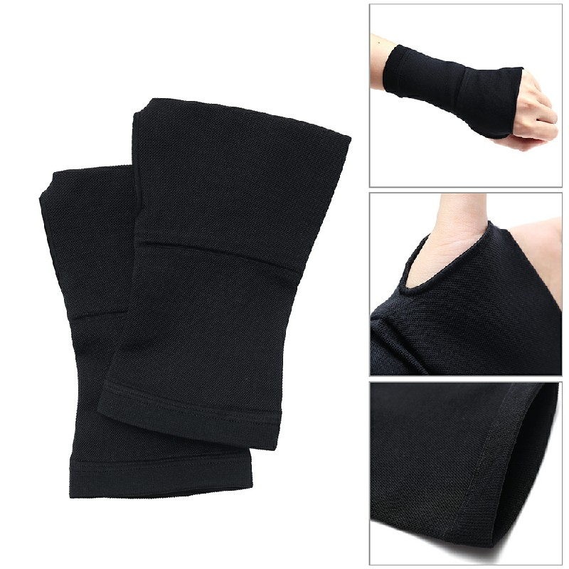 One Pair Sports Hand Wrist Compression Bandage Black - M