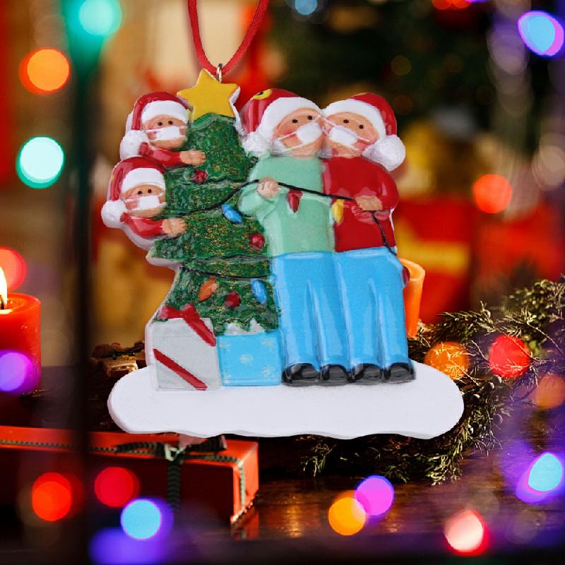 Christmas Tree Ornament 2020 Quarantine Family Lockdown Decoration - 4 Heads