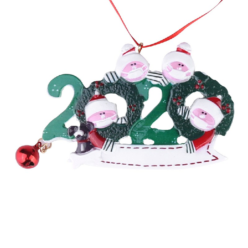 Resin Christmas Tree Ornament 2020 Quarantine Family Xmas Lockdown Decoration DIY name - 4 Heads