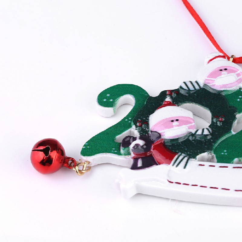 Resin Christmas Tree Ornament 2020 Quarantine Family DIY Name - 4 Heads