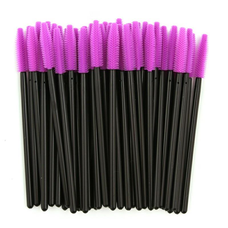 50PCS Disposable Eyelashes Brushes Silicone Wands - Purple