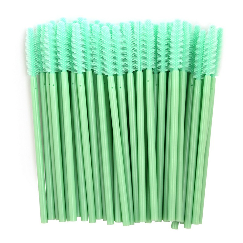 50PCS Disposable Eyelashes Brushes Silicone Wands - Green