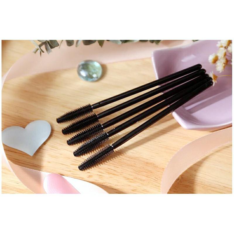 50Pcs Silicone Mascara Brushes Wands Disposable Eyelashes - Black