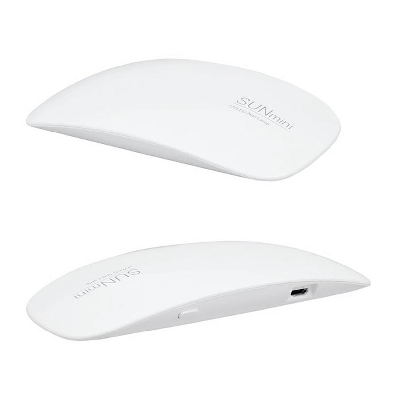 6W Portable Mini USB UV LED 45s/60s Timer Nail Lamp Dryer - White