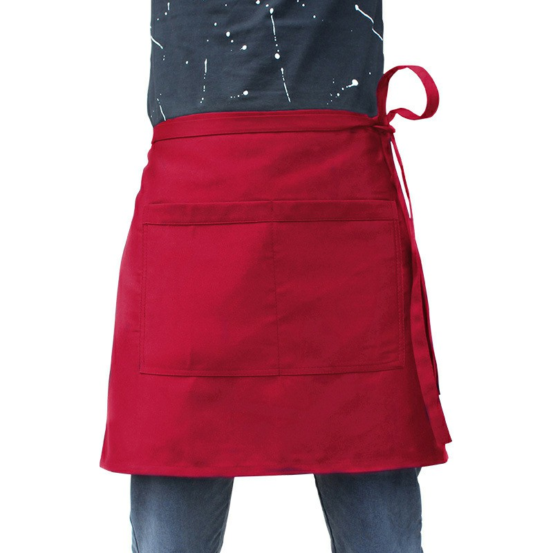 Cooking Bistro Plain Half Wrist Aprons with Twin Double Pockets - Red