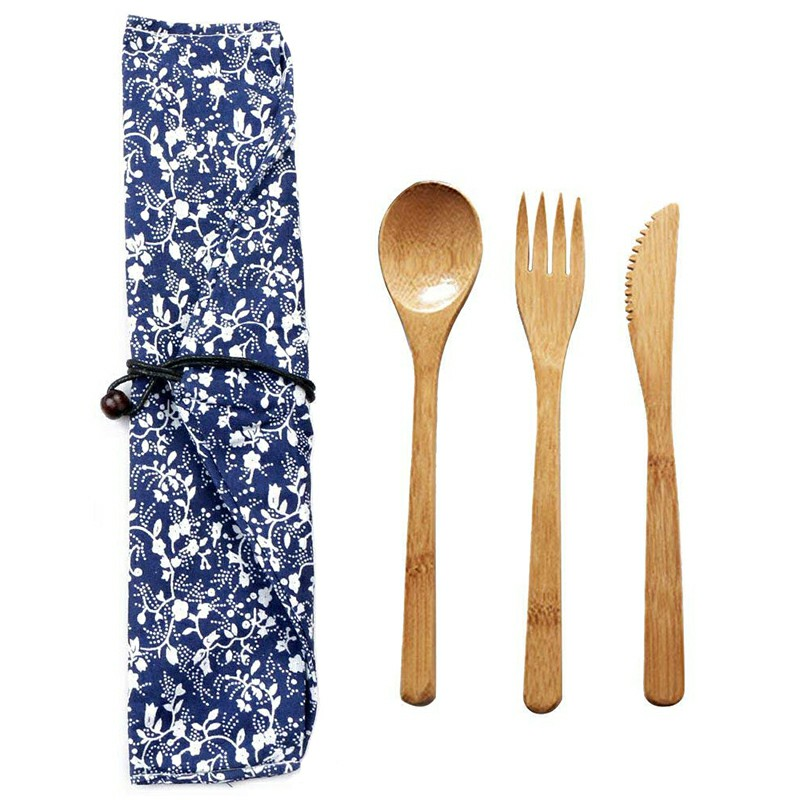 Bamboo Spoon Fork Cutter Set Outdoor Tableware