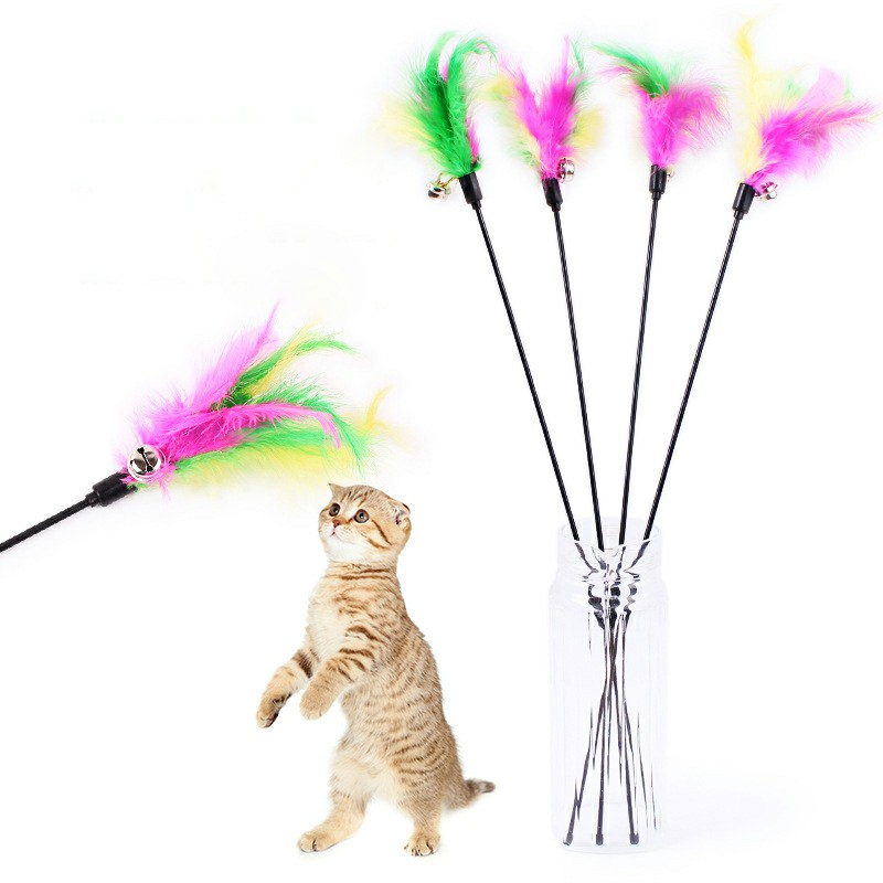 Kitten Cat Toy Colourful Feather Teaser Bell