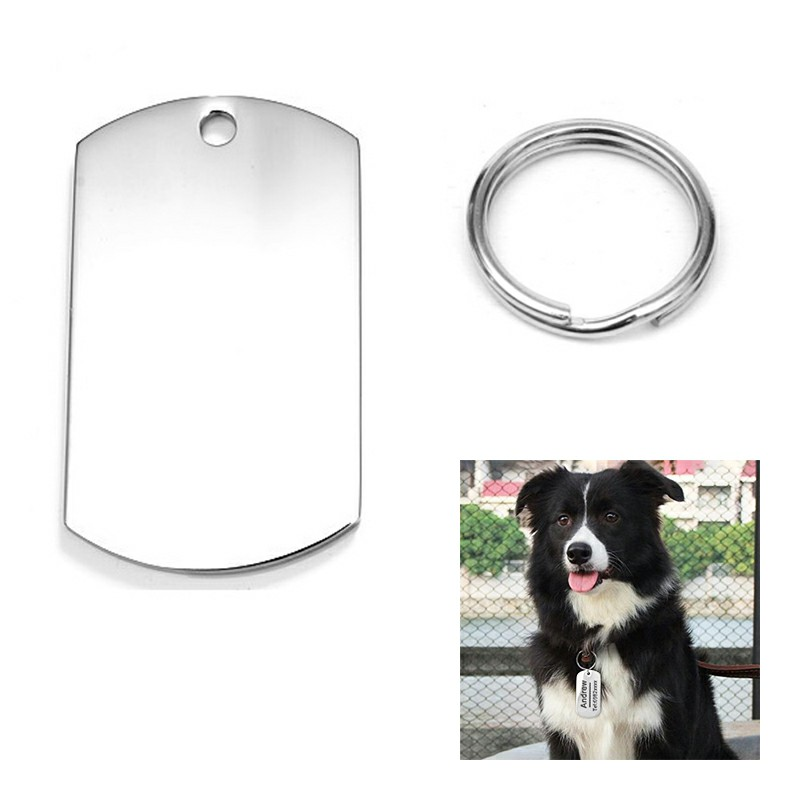 Stainless Steel Blank Tag Pet ID Tags with Key Ring Cylinder Shape - Size L