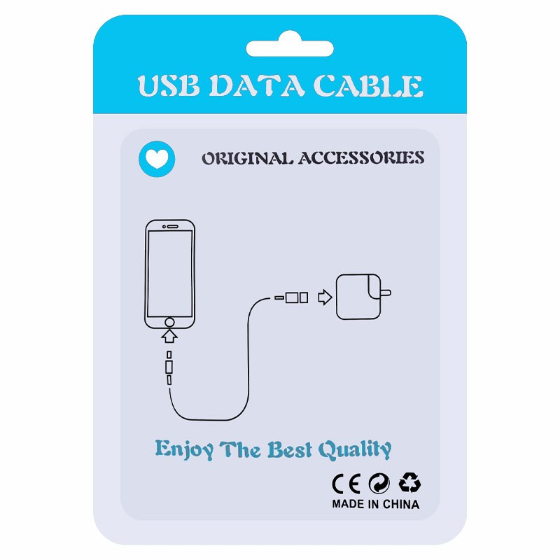 PE Package Plastic Bags for Cellphone Data Cable - Blue
