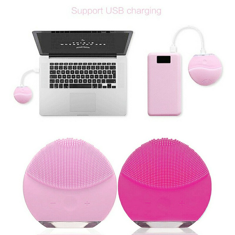 Silicone Electric Face Cleansing Brush Massager - Hot Pink