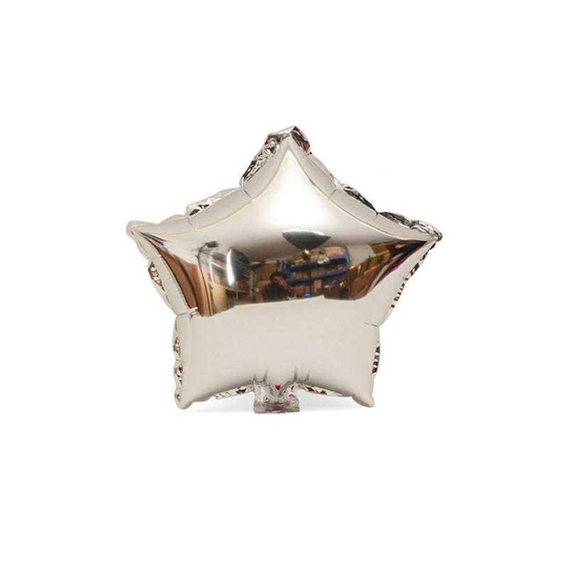 18 inch Plain Coloured Star Foil Balloons - Silver