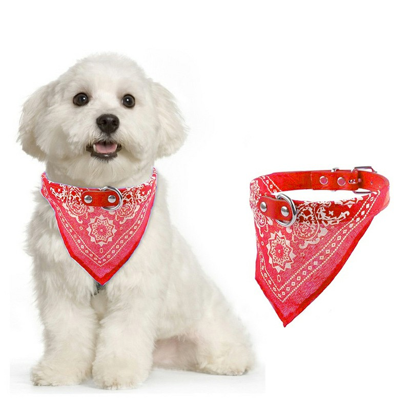 Pet Dog Bandana Collar Adjustable Neckerchief Size M - Red