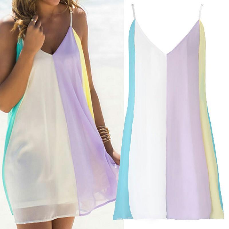 Fashion Summer Chiffon Rainbow Harness Dress Size XS