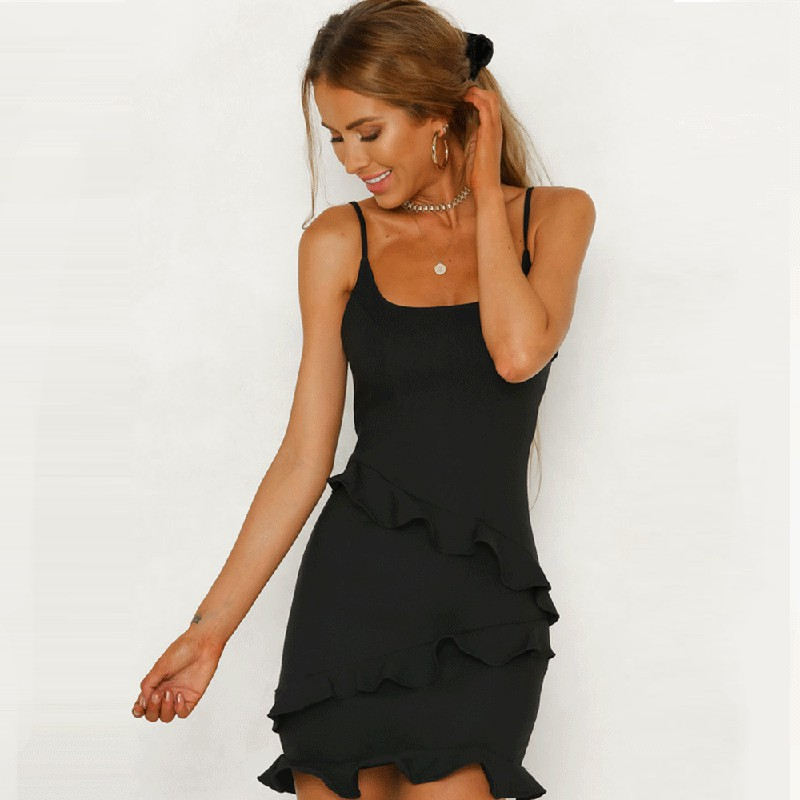 Women Ruffle Frill Mini Wrap Sling Frill Dress - M