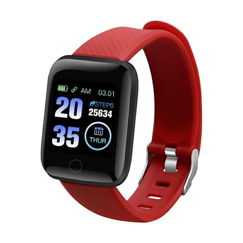 116plus Sport Monitor Measure Heart Rate Blood Pressure Blood Oxygen Bluetooth Watch - Red