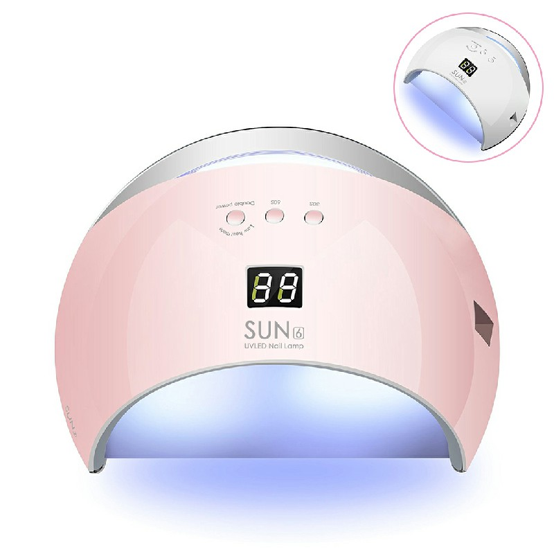 48W SUN6 LED UV Nail Lamp Gel Polish Cure Dryer - Pink