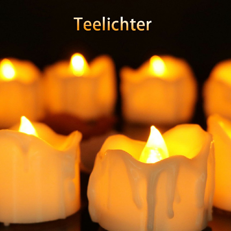 12PCS Flameless LED Candle Flickering Tea Light Battery Operated - Warm Light Steady on