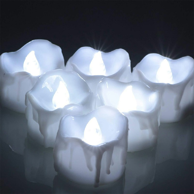 12PCS Flameless LED Candle Flickering Tea Light Battery Operated - Cool Light Steady on