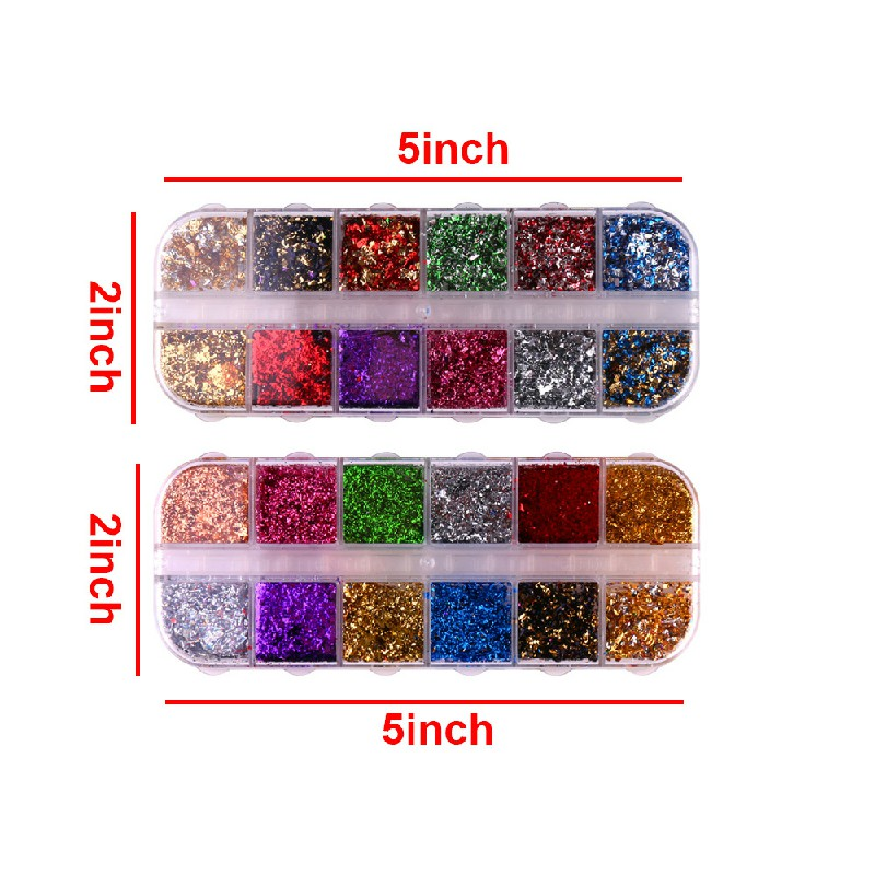 Nail Art Foil Leaf Gold Silver Flakes Chunky Glitter Body Manicure Decor Makeup
