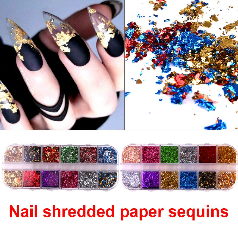 Nail Art Foil Leaf Gold Silver Flakes Chunky Glitter Body Manicure Decor Makeup - CBY