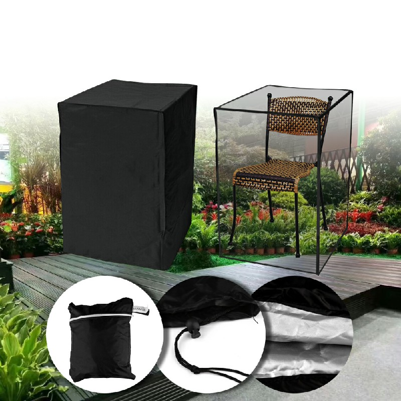 Waterproof Stacking Chair Cover UV Outdoor Garden Patio Furniture Protection - Black