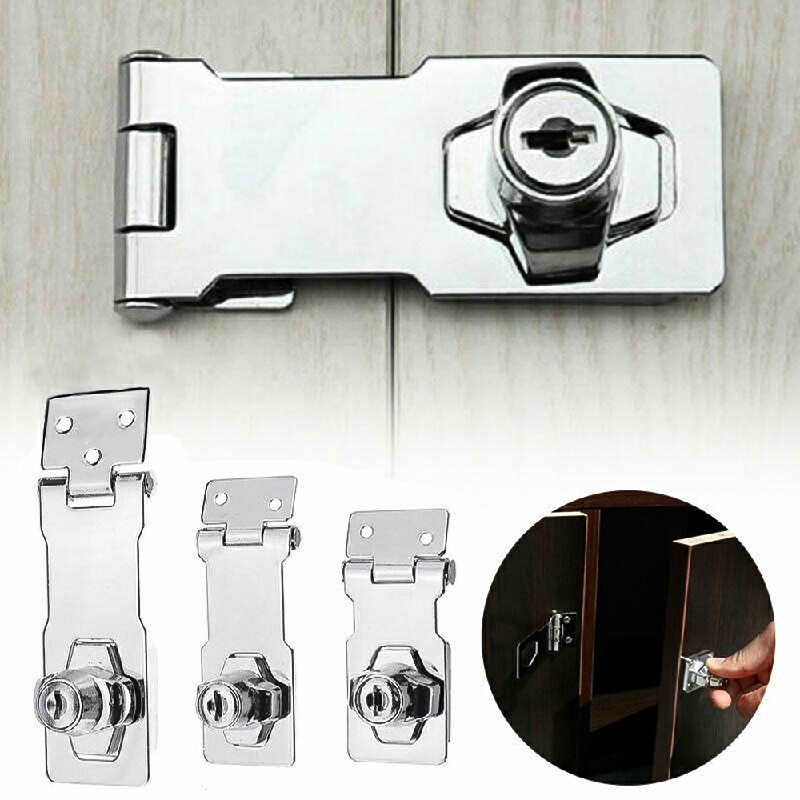 Locking Hasp and Staple with Keys Padlock Cupboard Shed Garage Lock - 4 inch Silver
