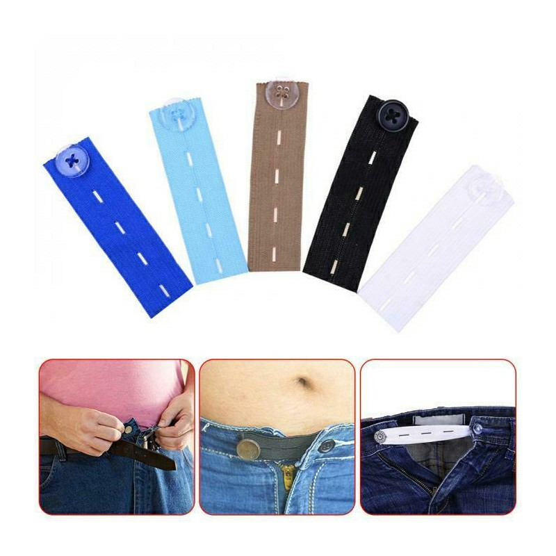 Adjustable Elastic Waist Extenders for Trousers - Black