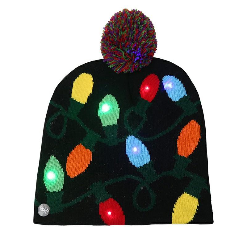 Christmas LED Light Winter Warm Beanie Cap - Lantern