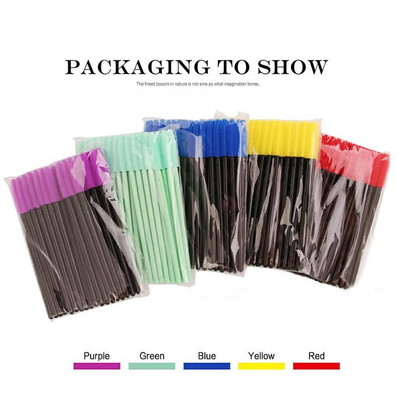 50 PCS Disposable Eyelashes Brushes - Yellow