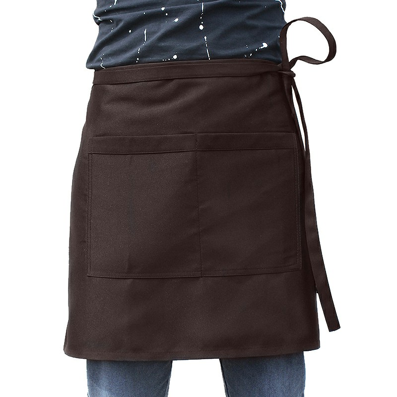 Bistro Plain Half Wrist Aprons with Twin Double Pockets - Brown