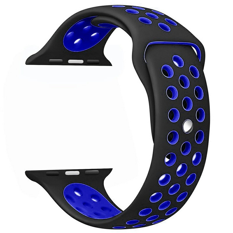 38mm Silicone Replacement Band for Apple Watch 1 2 - Black + Blue