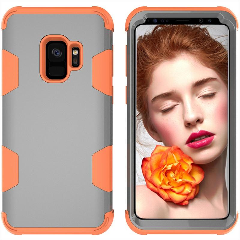 Samsung S9 Shock Absorption Bumper Phone Case - Grey+Orange
