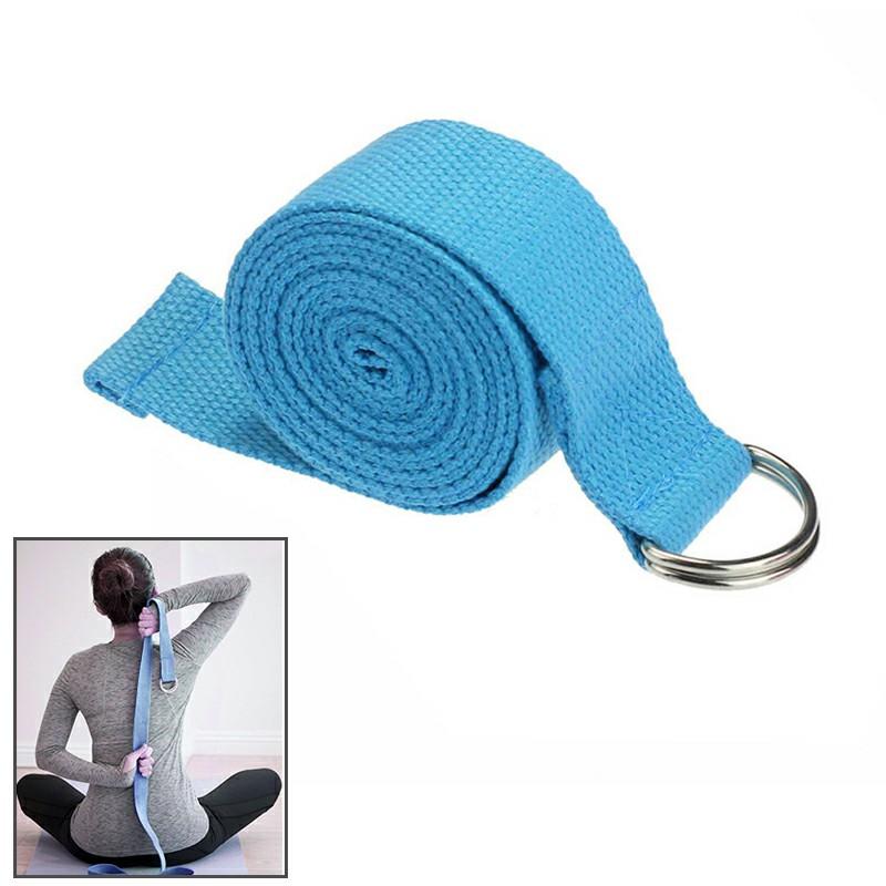 D-Ring Cotton Yoga Training Belt - Blue