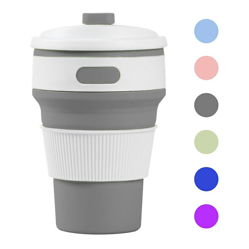Collapsible Silicone Telescopic Water Bottle - Grey
