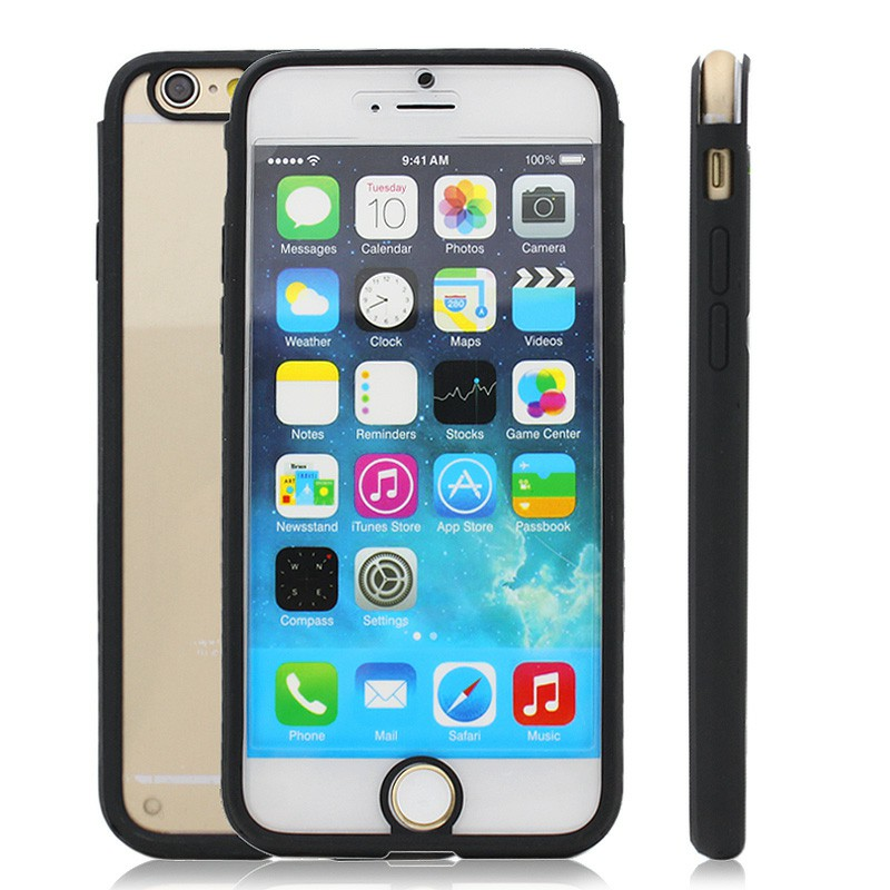 Clear Front and Back Silicone TPU Bumper Case for iPhone 6 - Black