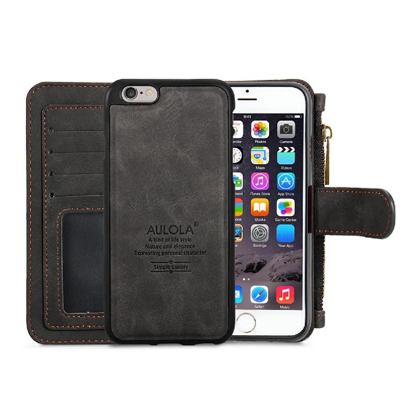 Wallet Purse Flip Case Cover for iPhone 6 Plus - Black