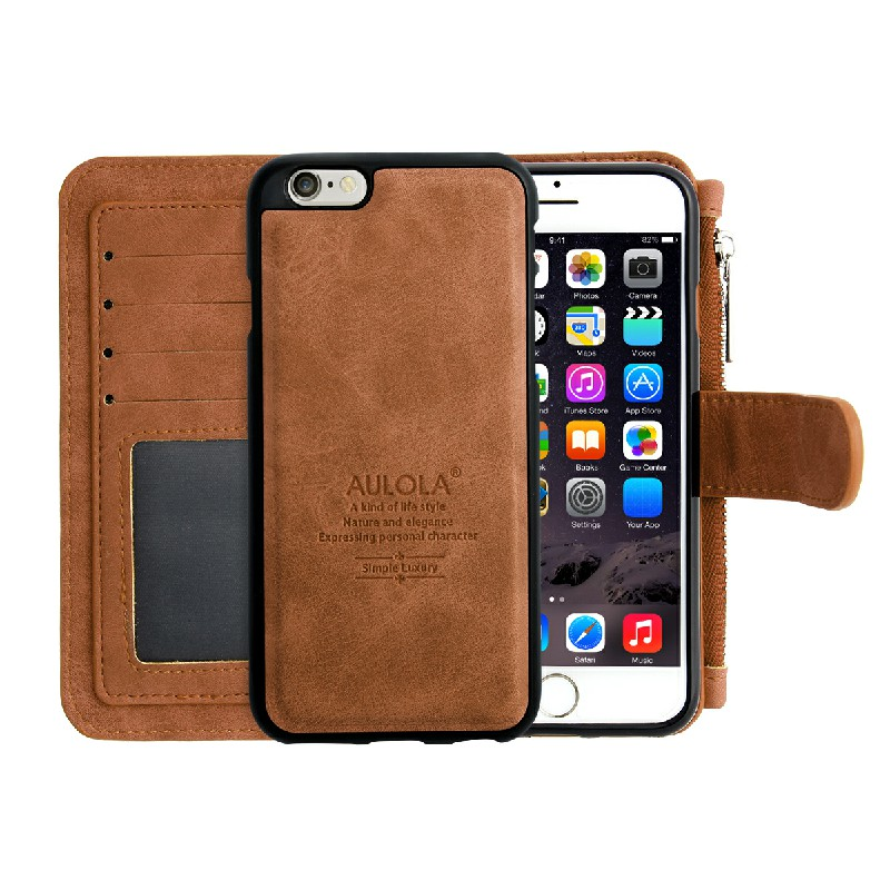Wallet Purse Flip Case Cover for iPhone 6 - Brown