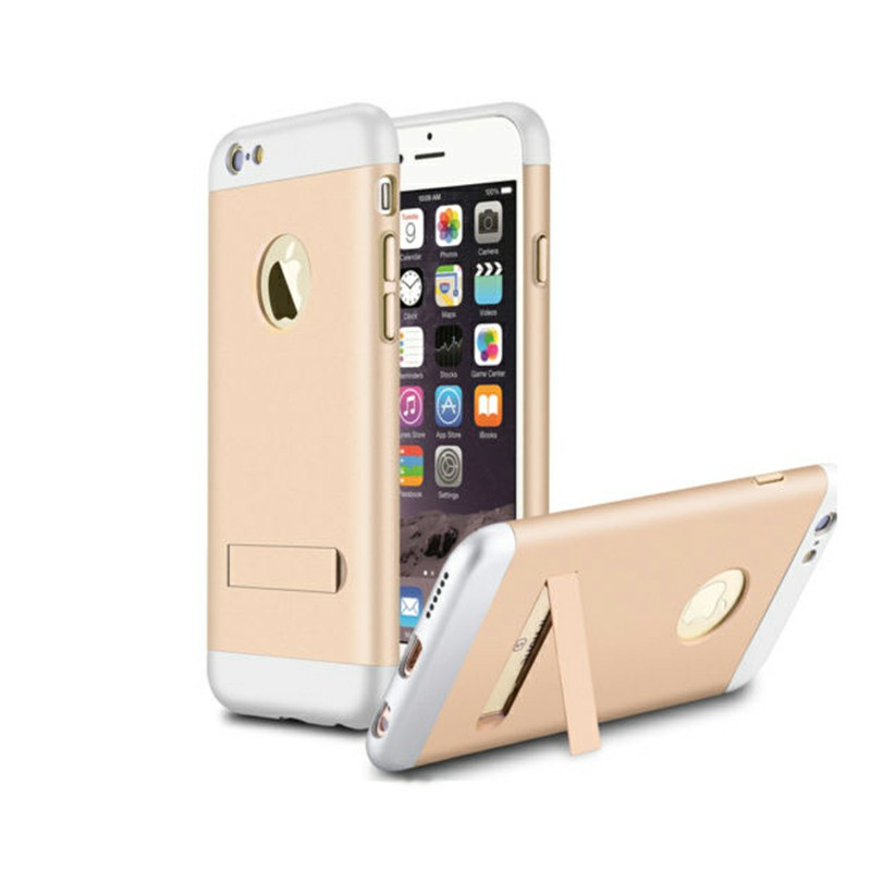 Shockproof Armor Stand Back Case for Apple iPhone 6 Plus - Silver