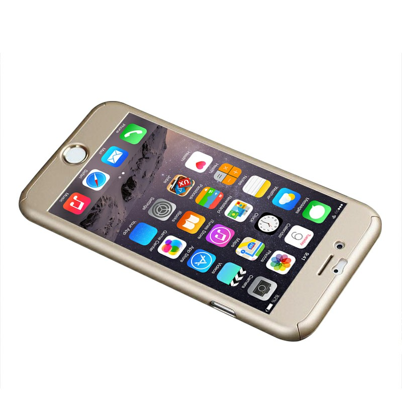 360 Full Coverage Case + Tempered Glass Cover for iPhone 7 - Gold