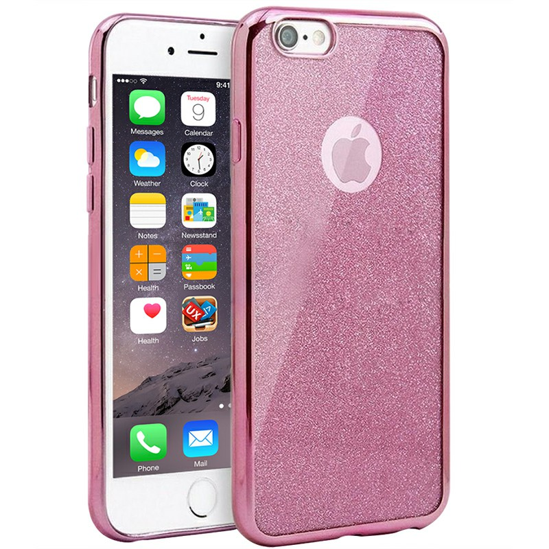 Silicone Glitter Shockproof Case Cover for iPhone 7 Plus - Pink